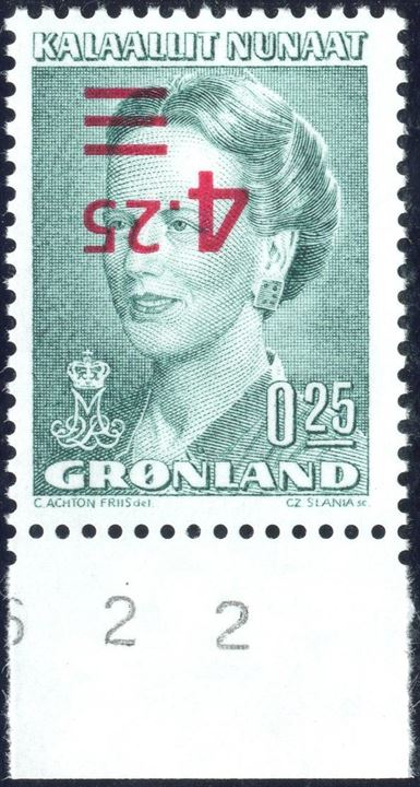 Queen Margrethe II issued with INVERTED OVERPRINT. Mint never hinged.