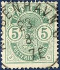 5 øre Coat of Arms type with small corner figures with a nicely centered Copenhagen c.d.s.