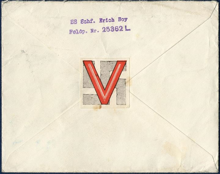 "SS-Fieldpost sent 21 April 1943 from Field Post #25363 to a Danish volunteer in the German Army, Ignaz Schwab, Fieldpost #18149 and then changed to #30003B with a seal ""V-Hagenkreuz"" on the reverse."