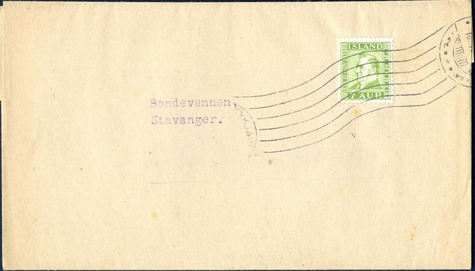 Printed matter band franked with 7 øre green M. Jochumsson issue on letter from Reykjavik to Stavanger in Norway, tied by machine cancel Reykjavik between 1935-1939. Between 1.10.1925 and 31.12.1939 the rate were 7 aur.