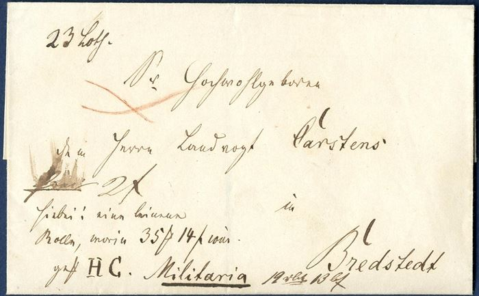 Military parcel letter with value 35M 14s sent from IV. Compangnie II. Jäger Corps to Bredstedt (1848-50) and weighing 23 loth.