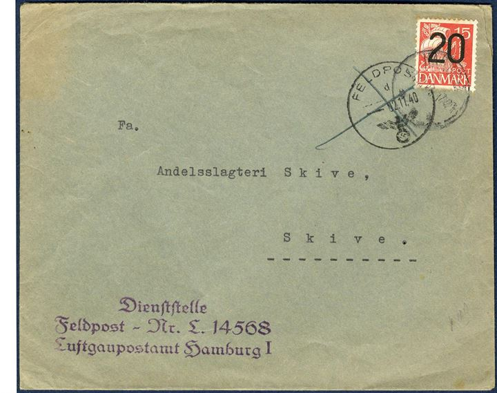 Field Post letter by airmail from Hamburg to Skive 1. November 1940 via the Karup airfield. On arrival in Karup a Danish stamp has been applied to pay the rate for a domestic letter, 20 øre. The letter originally mailed from Luftpostamt - Feldpost 14568 Hamburg. A very unusual type of letter.