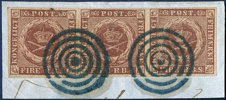 4 Rigsbank-Skilling Ferslew 2 in strip of three on piece and tied by mute canceller in blue ink, plate I pos. 57-58-59. Largest multiple known with blue cancel. SUPERB.