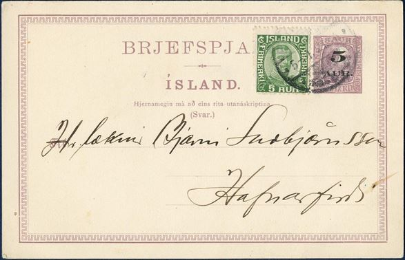 5 AUR overprint on 8 aur King Christian IX reply card additionally franked with 5 aur green Chr. X on postcard sent from Reykjavik to Hafnarfirdi 5 January 1921. Ringstrøm Nr. 51, original double card 20 type I, Hjernamegin (mà).