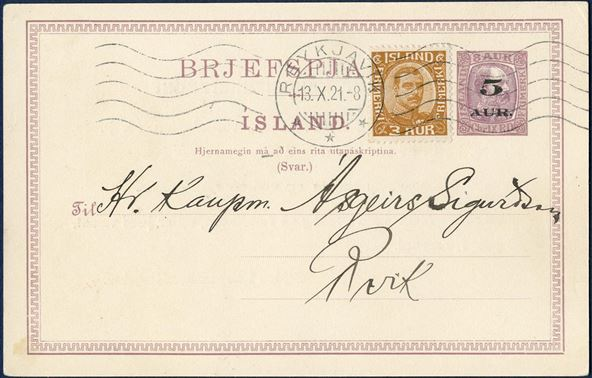 5 AUR overprint on 8 aur King Christian IX reply card additionally franked with 3 aur brown Chr. X on postcard sent locally in Reykjavik 13 October 1921, correct local rate 8 aur from 15 May 1921 to 31 December 1932. Ringstrøm Nr. 51, original double card 20 type I or IV, Hjernamegin (mà).