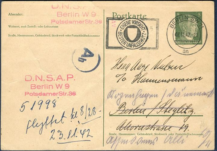 Local post card in Berlin 7. November 1942 from the DNSAP office to a member of the society asking for a settlement of the member fee.