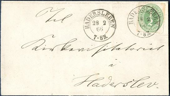Local letter sent within Hadersleben 28. February 1866 and franked with 1/2 Sch. HERZOGTH-SCHLESWIG green tied by Prussian 2-ring. Local letters are scarce and this letter in an outstanding quality.