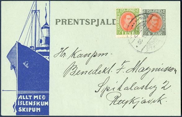 """ALLT MED ISLENSKUM SKIPUM"" advertising 4 aur King Christian X printed matter card with 1 Eyr to make up the 5 aur local rate from 1.1.1933. Cancelled Reykjavik 11 June 1933. Extremly rare postal card from Iceland."