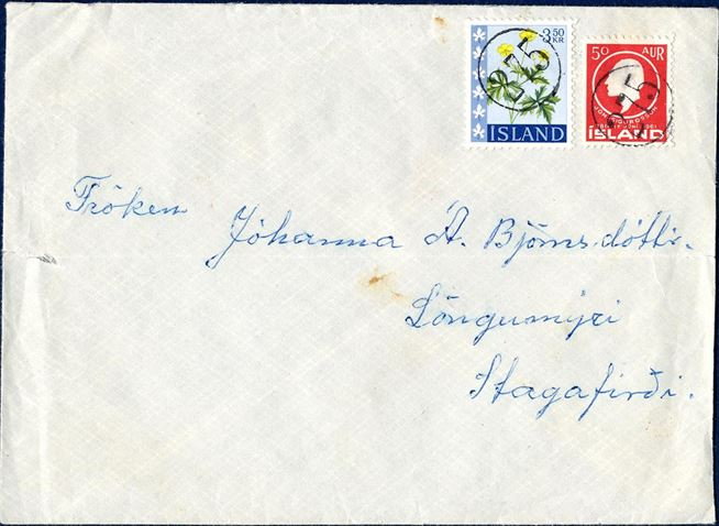 Letter from Stóra-Giljá with numeral 275 on letter to Stagafirdi franked with 400 aur. Between 1.1.1963 – 30.9.1963 the rate were 400 aur.