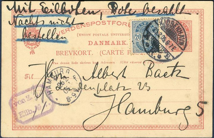 10 øre postcard franked with 20 øre Arms type on EXPRESS service from Copenhagen to Hamburg 25 February 1905 6-7 evening, and arrived Hamburg next day 8-9 morning. With express service, courier paid, Not to be delivered at night