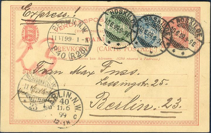 10 øre postcard franked with 5 and 20 øre Arms type on EXPRESS service from Roskilde to Berlin 10 June 1899 8-9 Evening, and arrived Berlin next day 1 am. Vertical fold in card.