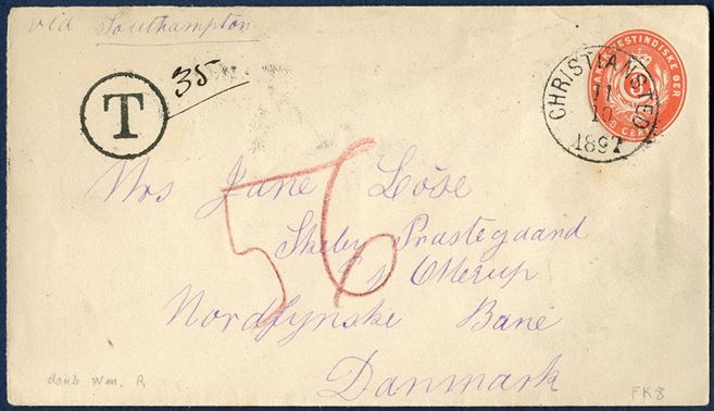 3 cents stationery double wm III envelope with postage due 35 centimes from Christiansted to Otterup and red cryon 56 (øre) to be claimed by addressee. A very fine postage due item.