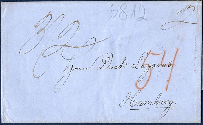 Entire from St. Thomas 16 January 1858 to Hamburg via London. Rate to Hamburg 3 sh. 2d ( 3 ounce letter 1/4 per 1/4 ounce plus 2d marked by ink) red chalk 54 payable by receiver. Cancelled with the British St. Thomas Post Office single 1-ring on the reverse, quite a scarce postmark.