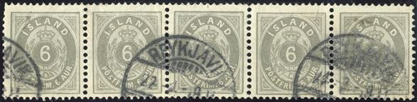 5-strip 6 aur 1897 cancelled with Reykjavik swiss type cds. Any used multiple of Icelandic stamps are scarce.