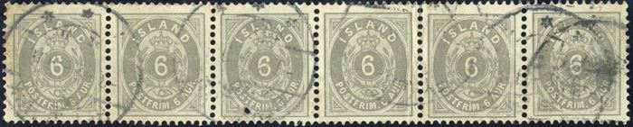 6-strip 6 aur 1897 cancelled with Reykjavik swiss type cds. Any used multiple of Icelandic stamps are scarce. With some faults.