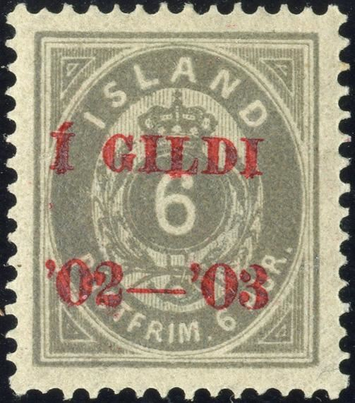 6 aur  Í GILDI '02-'03 RED overprint on IV. printing, smudgy grey. Hinged, very fine centering. Excellent copy.