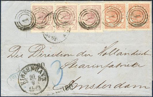 17 sk. letter sent from Copenhagen to Amstermdam 20 August 1866, franked with 3 sk. I printing and pair 4 sk. Vb printing1864-issue, tied by Copenhagen numeral 1. Amsterdam CDS arrival mark on reverse, in an excellent condition for a 1864-issue.