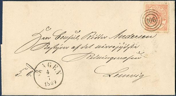 4 sk. 1864-issue on letter from Skagen to Lemvig, cancelled with a clean strike of numeral 106 alongside Skagen CDS. An eye-catching letter.