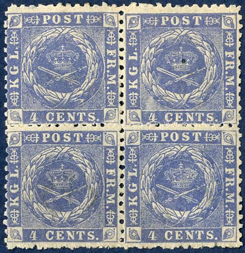 4 cents 1873 block of four position 4-5, 14-15. One stamp mint never hinged.