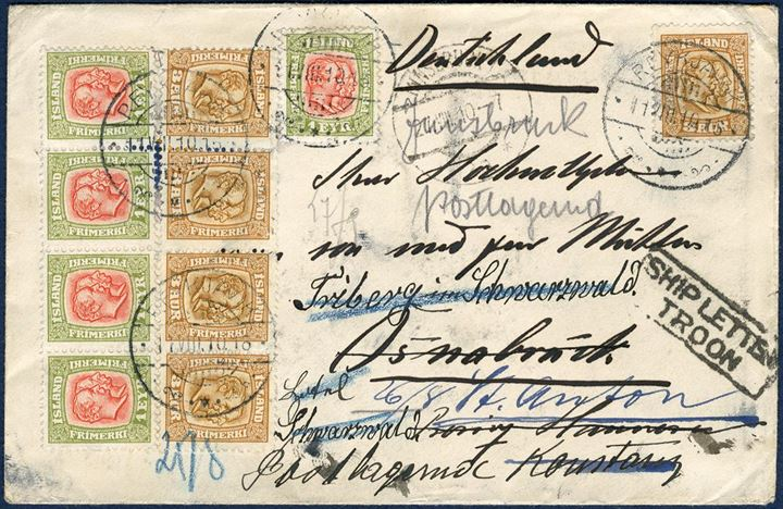 "Letter from Reykjavik sent to Osnabrück 11. August 1910 and franked with five 1 eyr and 3 aur two-kings issue. Forwarded to St. Anton, Konstanz, Schwarzwald. On UK arrival marked with boxed ""SHIP LETTER – TROON"". A very decorative letter."