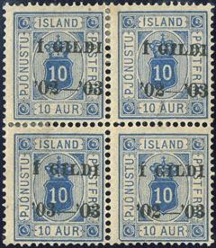 10 aur I GILDI Official perf 14 mint hinged block of four with the rare overprint error '03-'03 instead of '02-'03.