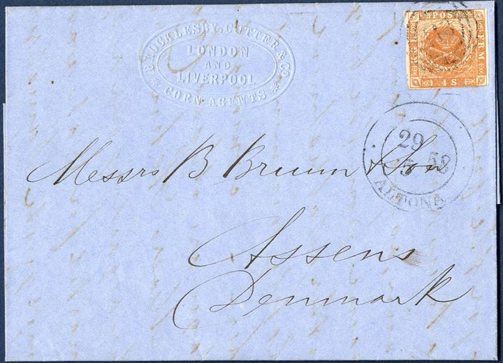 Forwarded letter sent from London through the Danish post office in Altona 29. May 1858 to Assens, Denmark. Franked with a 4 sk. 1858 dotted spandrels V. printing, plate V, retouch lower right spandrels, pos. 57 or 86.
