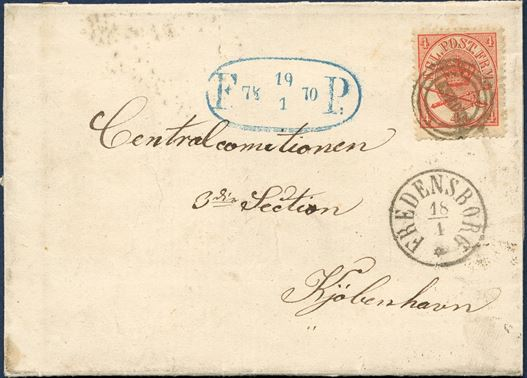 "Letter sent from Esrom to Copenhagen 18 January 1870 franked with 4 sk. 1864-issue tied by esrom type ""ESROM"" alongside ""Fredensborg"" CDS and delivered by the Foot Post service in Copenhagen with large oval Foot Post mark dated 19.1.1870. Unusual combination of these two cancels."
