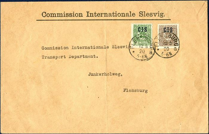 "Local letter sent from ""Commission Internationale Slesvig"" in Flensburg 12. May 1920 and franked with 5 and 35 PF overprinted CIS. Local rate 40 PF from 6 May to 23 June 1920."