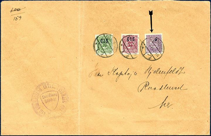 "Local letter sent from ""Commission Internationale Slesvig"" in Flensburg 14 March 1920 and franked with 5, 15 and 40 pf overprinted CIS. Large part of the CIS overprint is missing on the 40 PF, very scarce item."
