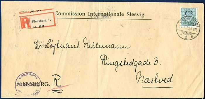 "Registered letter sent from ""Commission Internationale Slesvig"" in Flensburg 21 April 1920 to Næstved and franked with 75 pf overprinted CIS. Letter rate 30 pf and registration fee 30 pf, total franked 60 pf, apparantly overfranked by 15 pf."