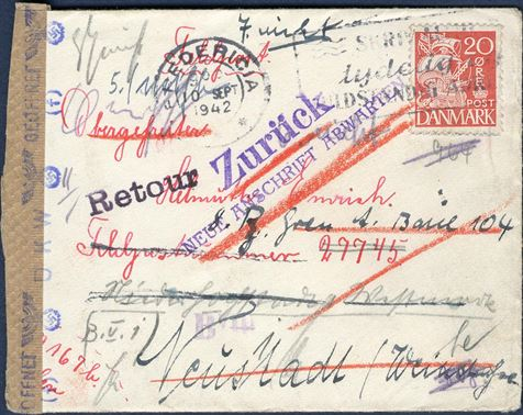 Letter sent from Fredericia to a soldier with the German forces at Field post number 27745 10 September 1942. Franked with 20 øre paying domestic rate, forwarded and returned and applied with return marks. Unusual letter.