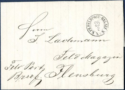 "Field Post letter sent from Kolding to Flensburg 26 May 1864 and postmarked ""K.PR.FELDPOST-RELAIS No. 9"". The Prussian troops occupied Jutland in the 1864-war and opened a Field Post office in Kolding where the postmark was used during the occupation. Letters with these postmarks are rarely seen."