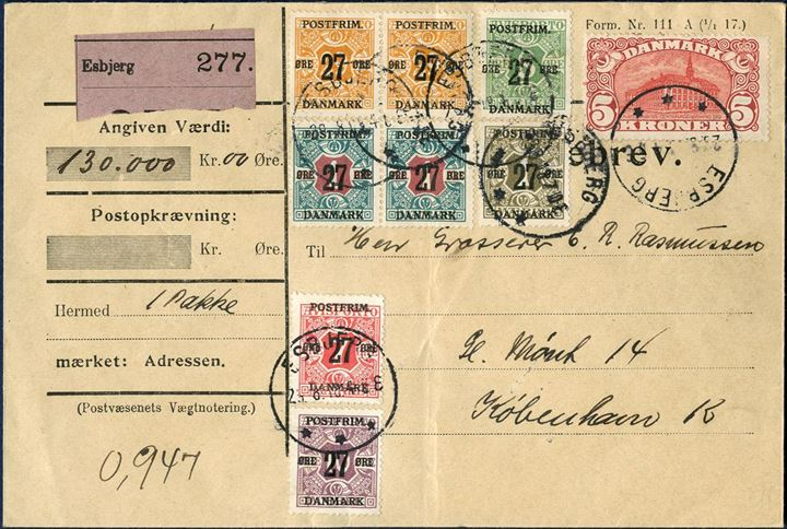 Value parcel sent from Esbjerg to Copenhagen 29 August 1918 and franked with 5 kr. Central Post Office 1915-issue and eight 27 øre provisional issue. Charge: parcel up to 1 kg 25 øre plus value fee, first 1000 kr. 15 øre and 129x 5 øre for the next 129.000 kr., total charge 685 øre, overfranked by 31 øre. Vertical fold through two stamps.