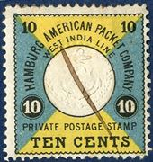 HAPAG 10 cents cancelled with pen cancellation.