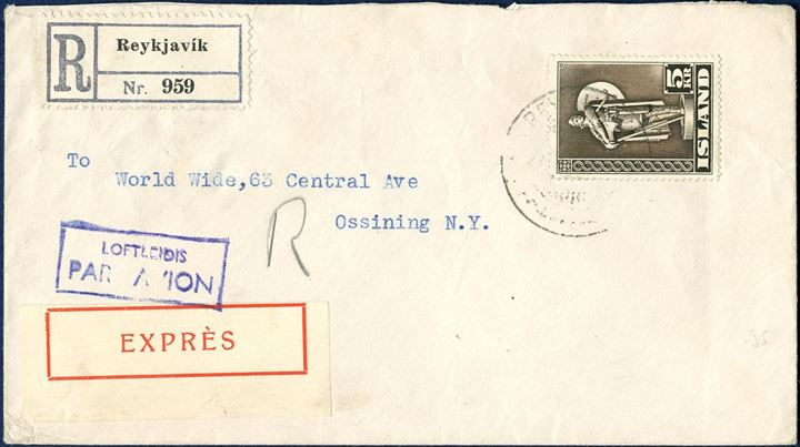 Registered Express Airmail letter to New York from Reykjavik July 1947 with NY arrival mark on reverse. Registration 60 aur, express 125 aur, letter 0-20 gram 60 aur, 2x 90 aur airmail surcharge each 5 gramm, total 425 aur. Overfranked by 75 aur, but still an attractive cover.