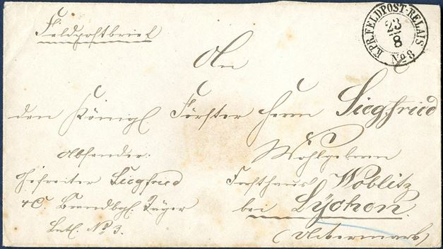 "Field Post letter sent from Christiansfeld 23 August 1864 and postmarked ""K.PR.FELDPOST-RELAIS No. 8"". The Prussian troops occupied Jutland in the 1864-war and opened a Field Post office No. 8 in Christiansfeld, where the postmark was used during the occupation. Slightly stained."