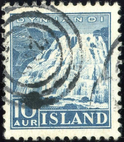 10 aur blue Dynjardi issue with numeral 236 Reykjavik, thin.