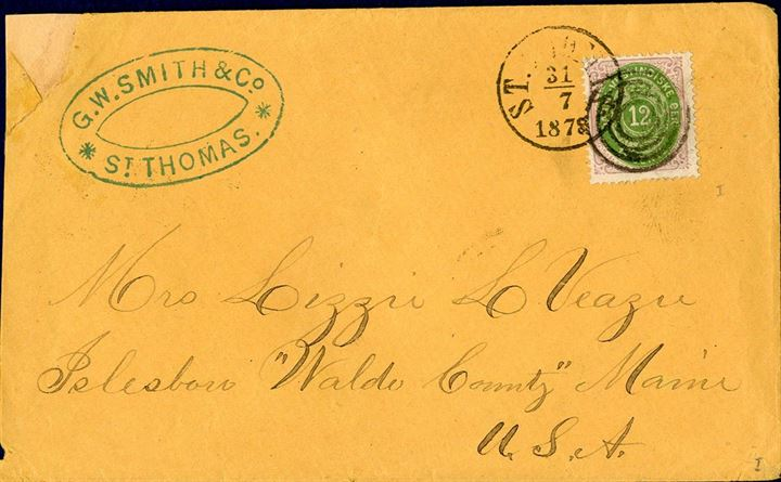 Letter from St. Thomas to Maine, USA July 31, 1878 with singlefranking 12 cents bicoloured II. printing tied by four-ring canceller alongside St. Thomas cds. Some repair to the envelope should not detract this fine item. Ex. Weiergang.