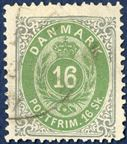 16 sk. green/grey bicolored issue II printing 1872 with inverted frame pos. 90, used. In this condition a very scarce stamp.