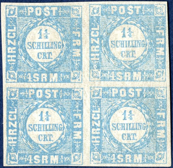 Block of four 1 1/4 Sch. Schleswig-Holstein weit gewellter grund, hinged, good margins.