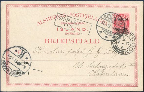"10 aur I GILDI stationery with normal and INVERTED overprint sent from Reykjavik to Copenhagen via Troon 31 December 1903. Reykjavik swiss-type CDS 31 Dec, boxed ""SHIP LETTER TROON"" and two-ring ""Troon 330"" CDS 14 Jan, and arriving mark Copenhagen 16 Jan 1904. Gunuine and commercial card franked with 10 aur UPU rate to Denmark VIA ENGLAND. Schillling Nr. 10C overprint I, 7,25 mm. Rare."