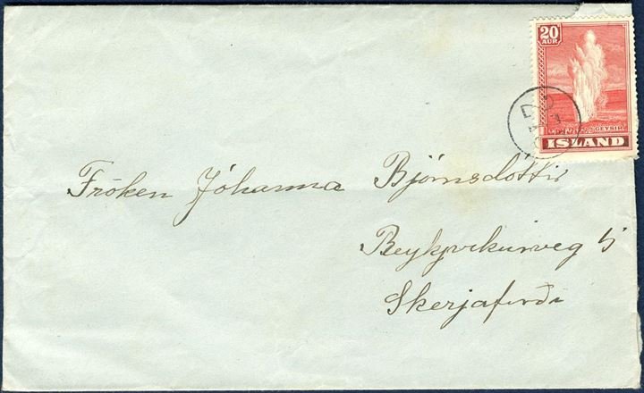 Letter from Stóra-Giljá with numeral 275 to Reykjavik bearing 20 aur red Geysir issue. Until 31 December 1939 the letter rate were 20 aur, thus used between 1938-1939.