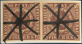4 Rigsbankskilling Thiele II. printing blackish brown, plate II, pos. 47-48. Pair with pen cancellation, magnificent appearance.