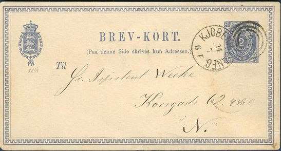 2 sk. BREV-KORT sent locally in Copenhagen 14 July 1876. From the 1 January 1875 a new currency reform replaced the skilling system with Kroner / Øre. Thus 2 sk. corresponded to 4 øre, which became the local rate in the new currency system, a lovely skilling/øre example in excellent condition.