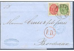 33 øre letter franked with 8 and 25 øre bicolored sent from Copenhagen to Bordeaux 18 September 1875. Before the currency reform 1 Jan 1875, the rate to France was 16 sk., and in the Kr/Øre system became 33 øre lasting only until 31 December 1875. Excellent quality.