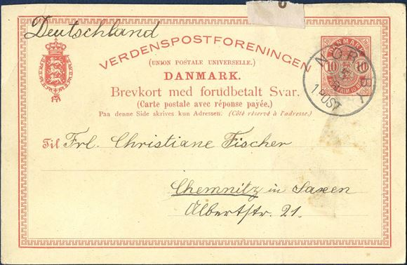 10 øre reply-card sent from Nordby Fanø to Chemnitz and returned with Chemnitz CDS 6 August 1895 and Nordy arrival mark on reply card. Rare set.