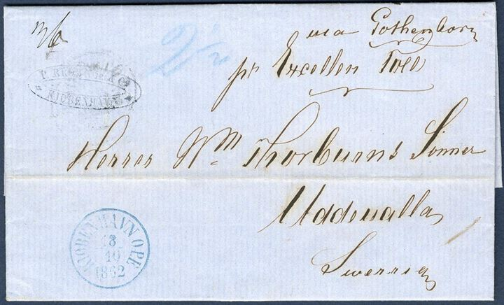 "Unpaid letter sent from Copenhagen to Uddevalla 18 October 1862. Sent by steamer ""Excellencen Toll"" endorsed ""pr. Excellenc Toll"" and ""via Gothenborg"", 36 øre Swedish due, Danish share in blue crayon ""2 1/2"" Lybske sk. and back stamped Göteborg CDS 20.10.62."
