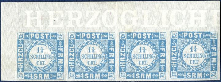 "1 1/4 Sch. imperforate, greyish ultramarine Schleswig-Holstein without dots in abbreviations in strip of four with sheet margin ""HERZOGLICHE"" and full margins all around. Mint never hinged, vertical folds not affecting the stamps. Exhibtion item in superb appearance, ex. Burrus."