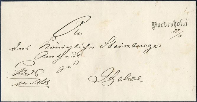 "K.D.S. m.att, Official letter sent from Bordesholm to Itzehoe 22 November (1857) applied with a clear strike of ""Bordesholm"" line mark in antiqua."
