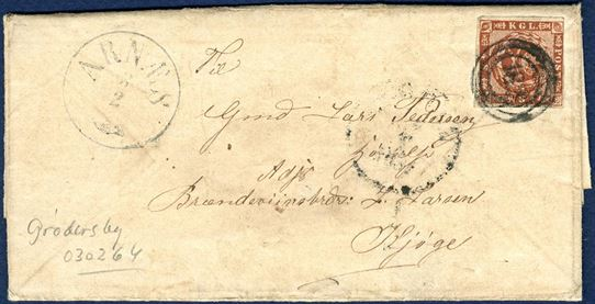 "Soldiers letter sent from Arnæs to Køge 3 February 1864 with inside dating ""Grödersby 3/2 64"", franked with 4 sk. 1858 wavy-line spandrels, tied by numeral ""182"" alongside ""Arnæs"" Antiqua type VI. Written by Peter Lassen, 2. Inffanteri Regiment, 2. Battalion, 8 Compagni No. 89, he also mention ""Missunde"" and ""Captain Schönning has been shot""."